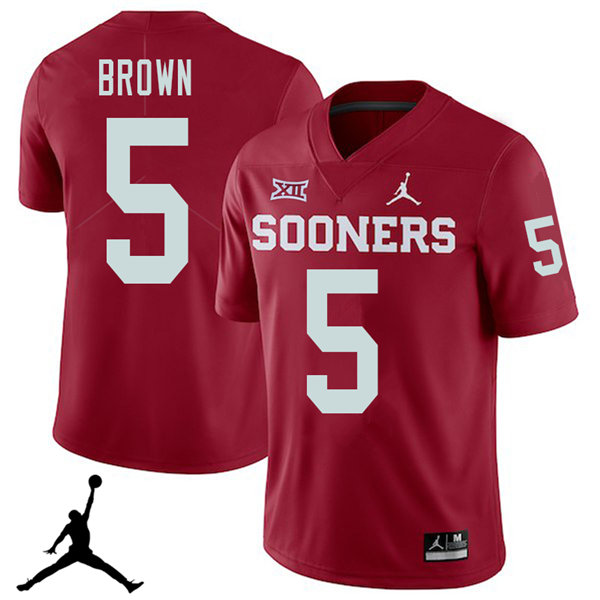 Jordan Brand Men #5 Marquise Brown Oklahoma Sooners 2018 College Football Jerseys Sale-Crimson
