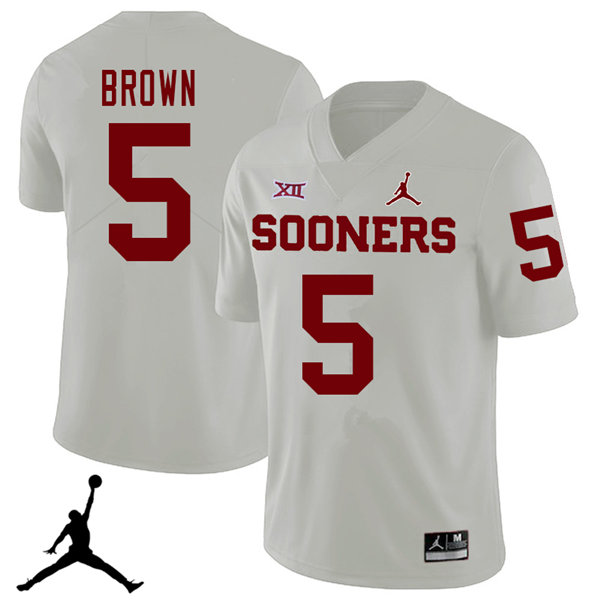 Jordan Brand Men #5 Marquise Brown Oklahoma Sooners 2018 College Football Jerseys Sale-White