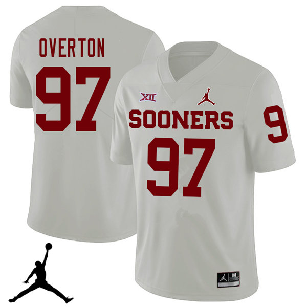 Jordan Brand Men #97 Marquise Overton Oklahoma Sooners 2018 College Football Jerseys Sale-White