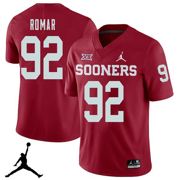Jordan Brand Men #92 Matthew Romar Oklahoma Sooners 2018 College Football Jerseys Sale-Crimson