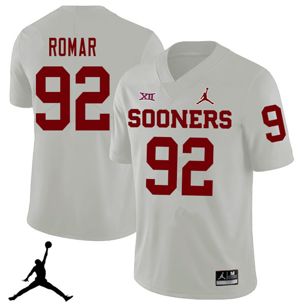 Jordan Brand Men #92 Matthew Romar Oklahoma Sooners 2018 College Football Jerseys Sale-White