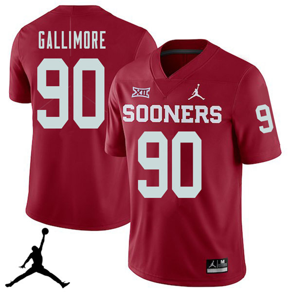 Jordan Brand Men #90 Neville Gallimore Oklahoma Sooners 2018 College Football Jerseys Sale-Crimson