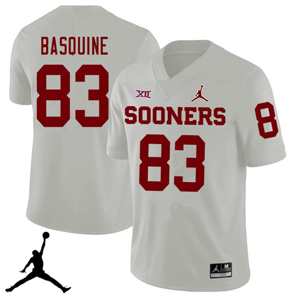 Jordan Brand Men #83 Nick Basquine Oklahoma Sooners 2018 College Football Jerseys Sale-White