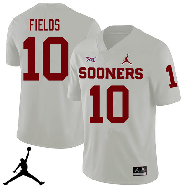 Jordan Brand Men #10 Patrick Fields Oklahoma Sooners 2018 College Football Jerseys Sale-White