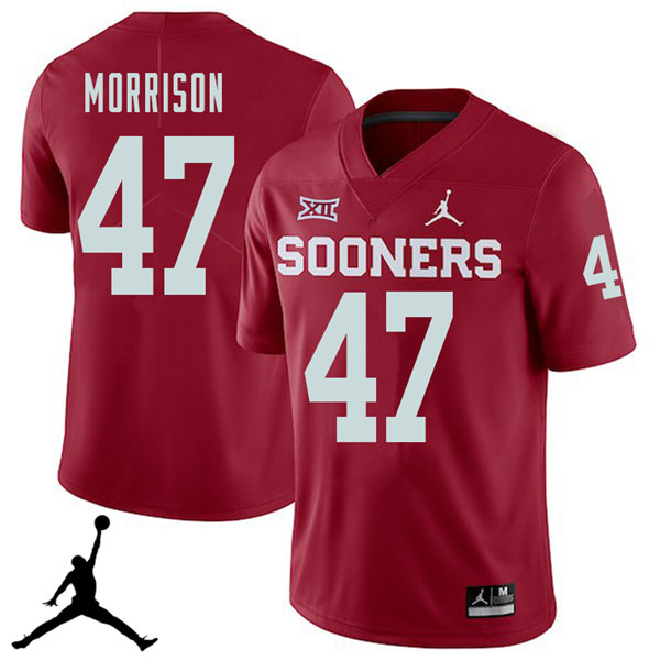 Jordan Brand Men #47 Reece Morrison Oklahoma Sooners 2018 College Football Jerseys Sale-Crimson