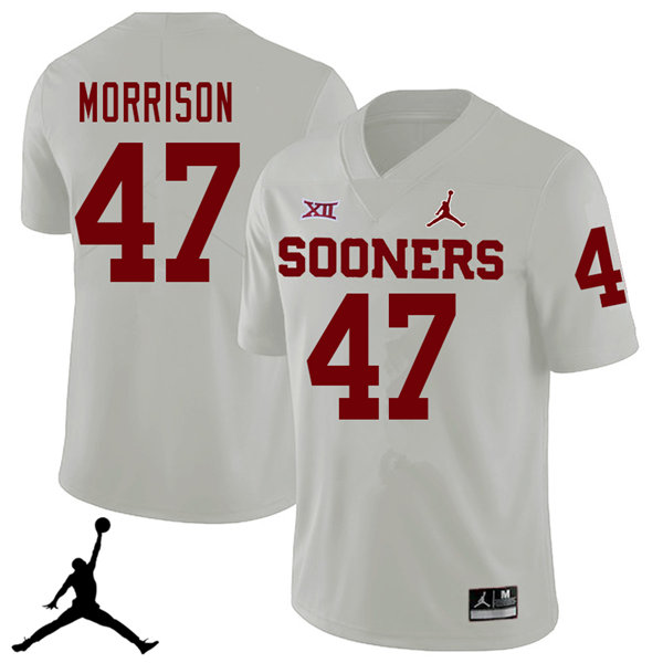 Jordan Brand Men #47 Reece Morrison Oklahoma Sooners 2018 College Football Jerseys Sale-White