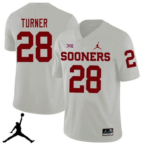 Jordan Brand Men #28 Reggie Turner Oklahoma Sooners 2018 College Football Jerseys Sale-White