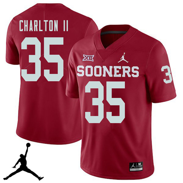 Jordan Brand Men #35 Robert Charlton II Oklahoma Sooners 2018 College Football Jerseys Sale-Crimson