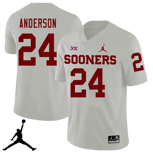 Jordan Brand Men #24 Rodney Anderson Oklahoma Sooners 2018 College Football Jerseys Sale-White