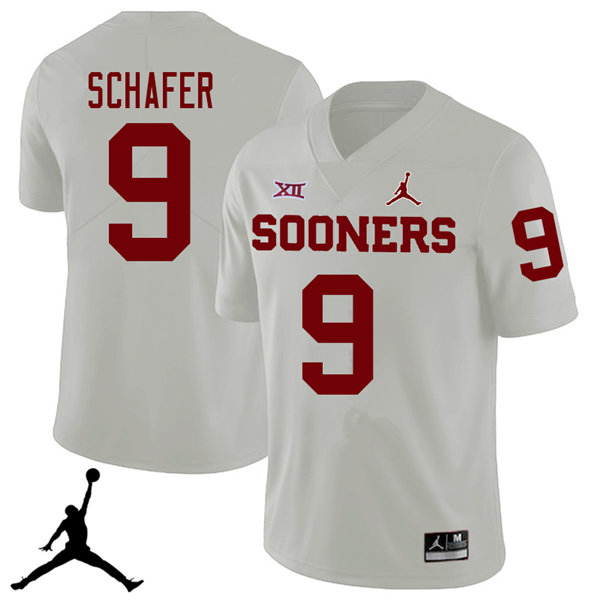 Jordan Brand Men #9 Tanner Schafer Oklahoma Sooners 2018 College Football Jerseys Sale-White