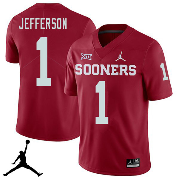 Jordan Brand Men #1 Tony Jefferson Oklahoma Sooners 2018 College Football Jerseys Sale-Crimson