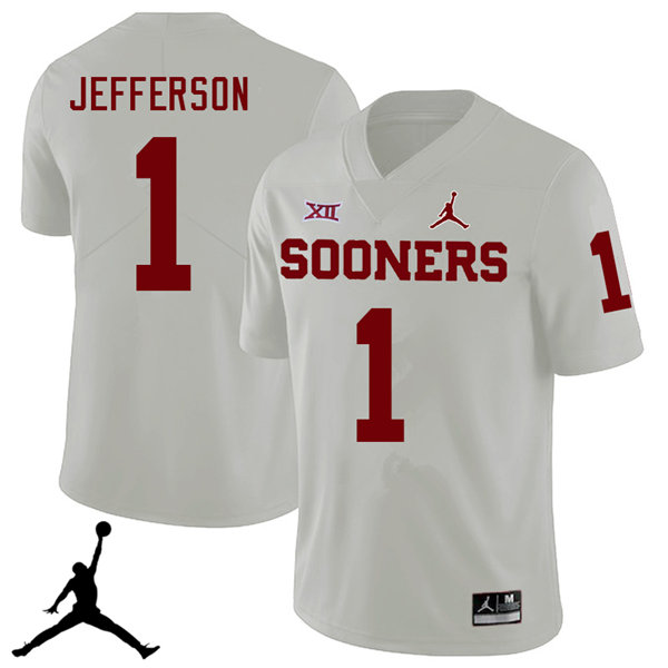 Jordan Brand Men #1 Tony Jefferson Oklahoma Sooners 2018 College Football Jerseys Sale-White