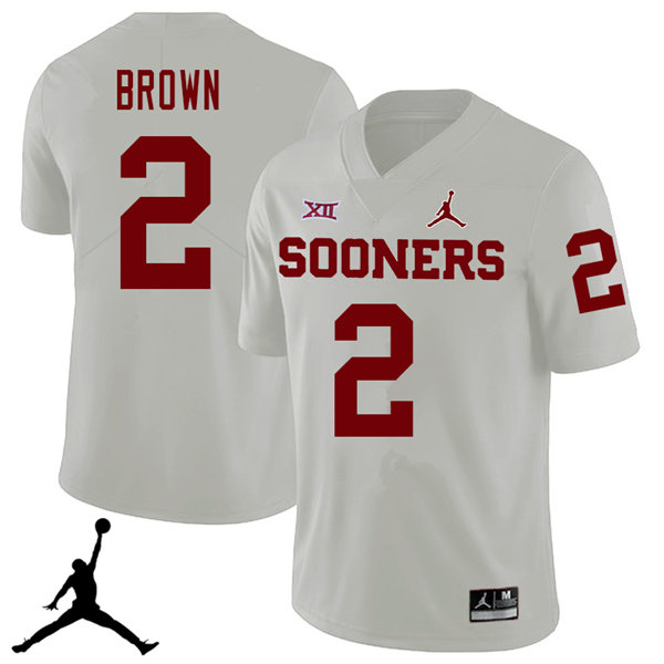Jordan Brand Men #2 Tre Brown Oklahoma Sooners 2018 College Football Jerseys Sale-White