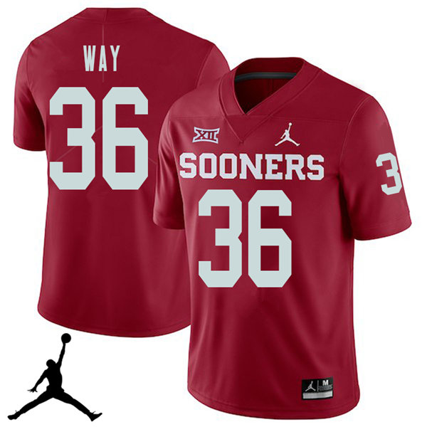 Jordan Brand Men #36 Tress Way Oklahoma Sooners 2018 College Football Jerseys Sale-Crimson