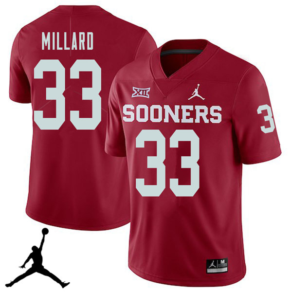 Jordan Brand Men #33 Trey Millard Oklahoma Sooners 2018 College Football Jerseys Sale-Crimson