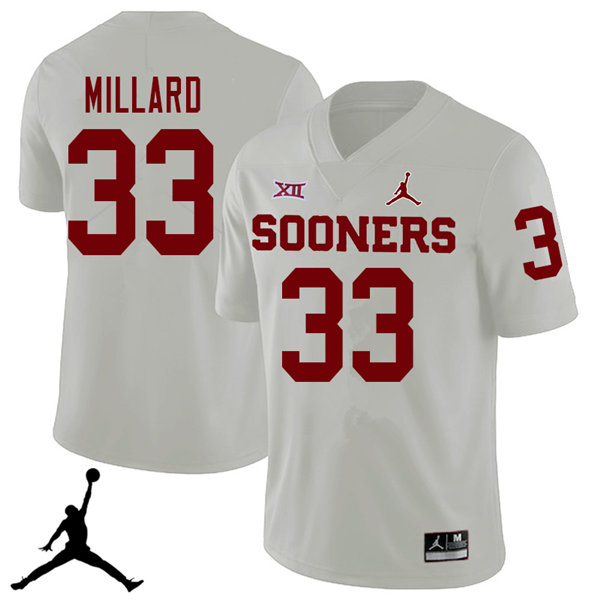 Jordan Brand Men #33 Trey Millard Oklahoma Sooners 2018 College Football Jerseys Sale-White