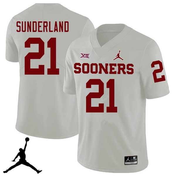 Jordan Brand Men #21 Will Sunderland Oklahoma Sooners 2018 College Football Jerseys Sale-White