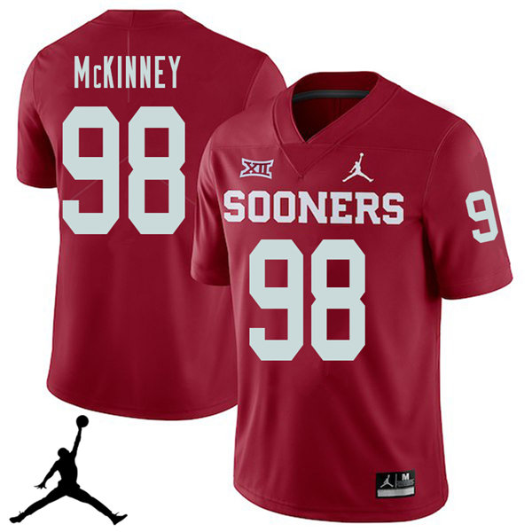 Jordan Brand Men #98 Zacchaeus McKinney Oklahoma Sooners 2018 College Football Jerseys Sale-Crimson