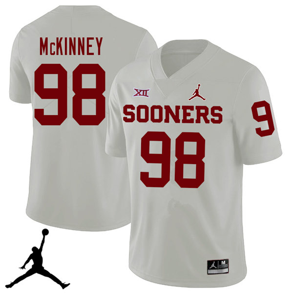 Jordan Brand Men #98 Zacchaeus McKinney Oklahoma Sooners 2018 College Football Jerseys Sale-White