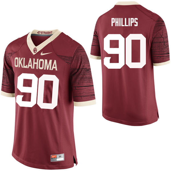 Men Oklahoma Sooners #90 Jordan Phillips College Football Jerseys Limited-Crimson