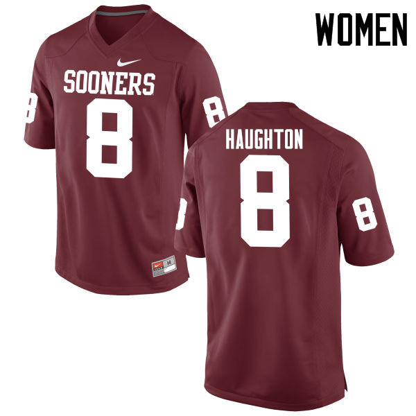 Women Oklahoma Sooners #8 Kahlil Haughton College Football Jerseys Game-Crimson
