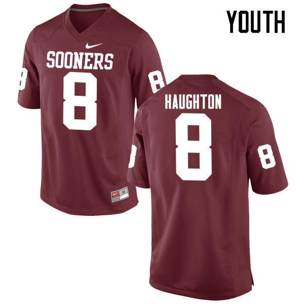 Youth Oklahoma Sooners #8 Kahlil Haughton College Football Jerseys Game-Crimson