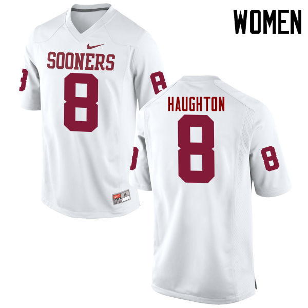 Women Oklahoma Sooners #8 Kahlil Haughton College Football Jerseys Game-White