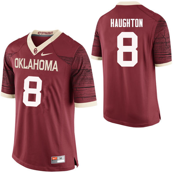Men Oklahoma Sooners #8 Kahlil Haughton College Football Jerseys Limited-Crimson
