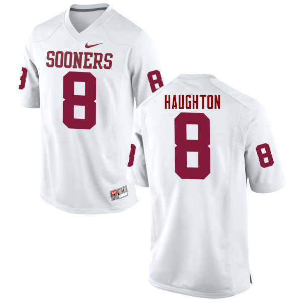 Men Oklahoma Sooners #8 Kahlil Haughton College Football Jerseys Game-White