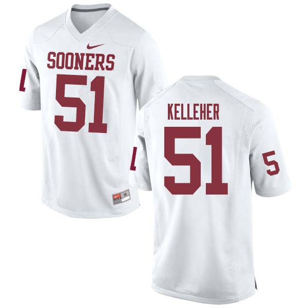 Men #51 Kasey Kelleher Oklahoma Sooners College Football Jerseys Sale-White