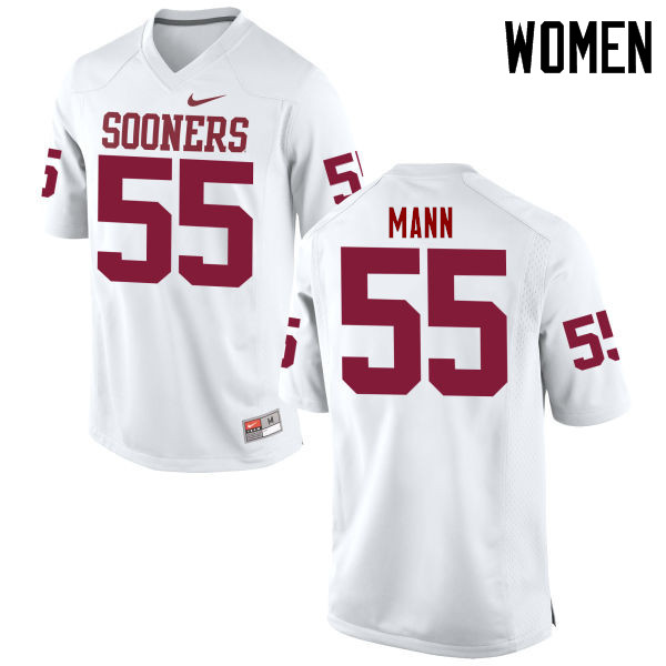 Women Oklahoma Sooners #55 Kenneth Mann College Football Jerseys Game-White