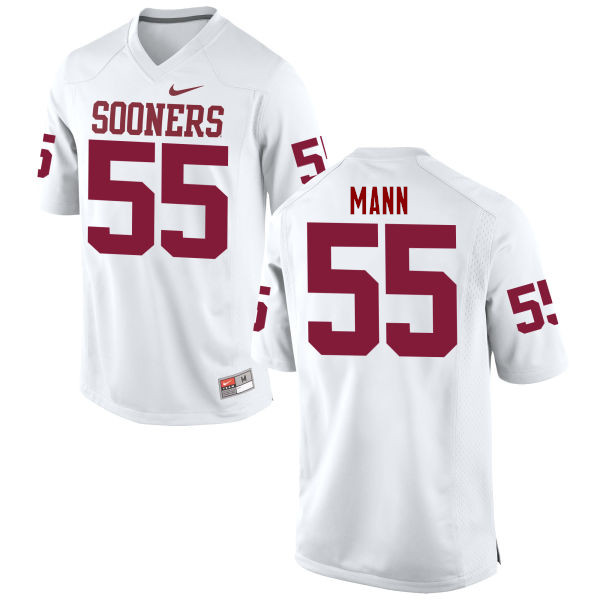 Men Oklahoma Sooners #55 Kenneth Mann College Football Jerseys Game-White