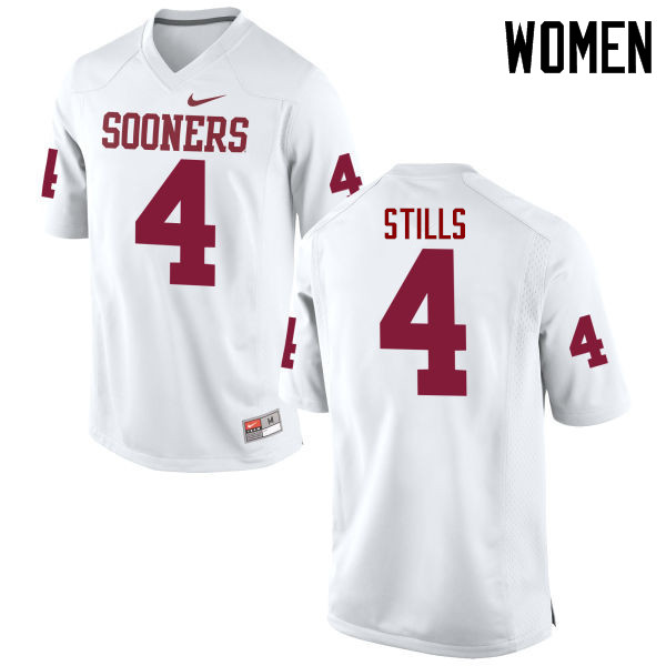 Women Oklahoma Sooners #4 Kenny Stills College Football Jerseys Game-White