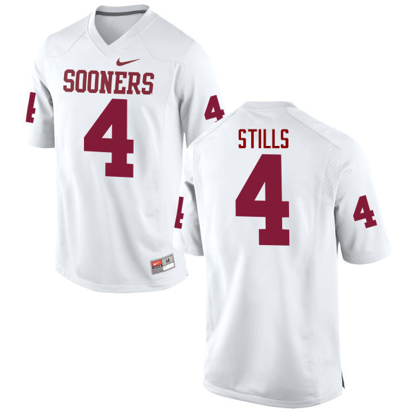 Men Oklahoma Sooners #4 Kenny Stills College Football Jerseys Game-White