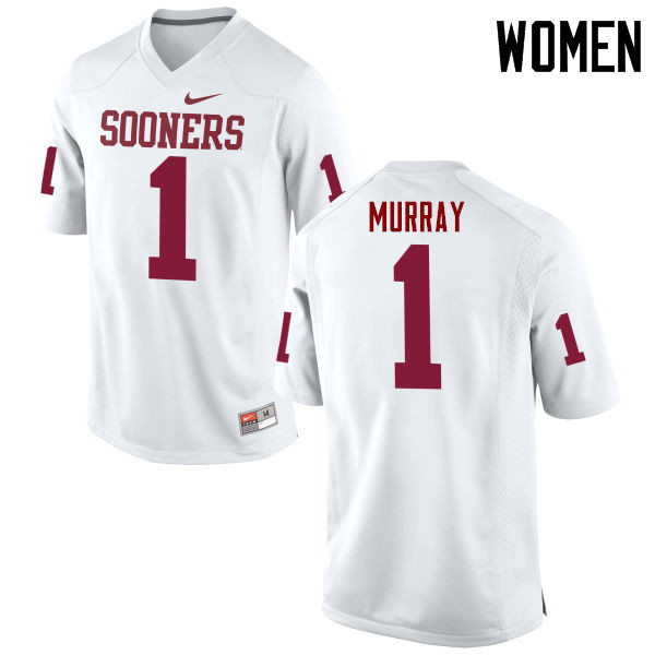 Women Oklahoma Sooners #1 Kyler Murray College Football Jerseys Game-White