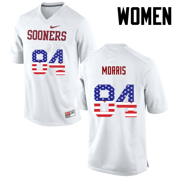 Women Oklahoma Sooners #84 Lee Morris College Football USA Flag Fashion Jerseys-White