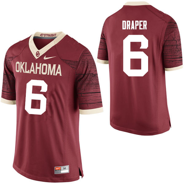 Men Oklahoma Sooners #6 Levi Draper College Football Jerseys Limited-Crimson