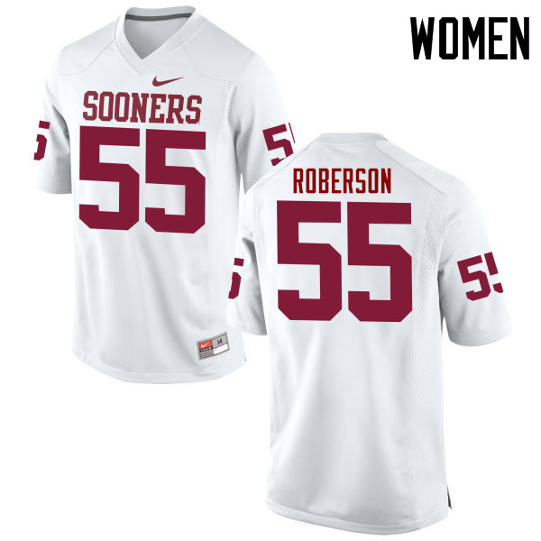 Women Oklahoma Sooners #55 Logan Roberson College Football Jerseys Game-White