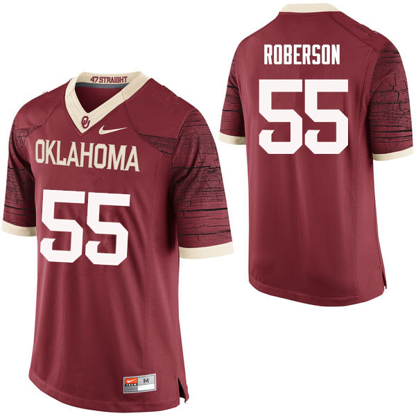 Men Oklahoma Sooners #55 Logan Roberson College Football Jerseys Limited-Crimson