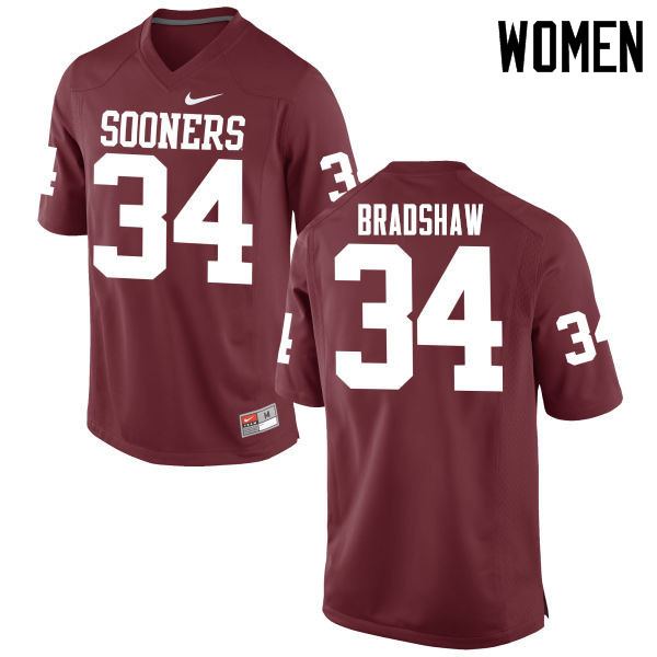 Women Oklahoma Sooners #34 Malik Bradshaw College Football Jerseys Game-Crimson
