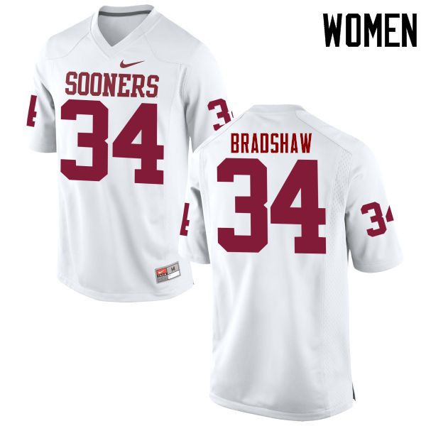 Women Oklahoma Sooners #34 Malik Bradshaw College Football Jerseys Game-White