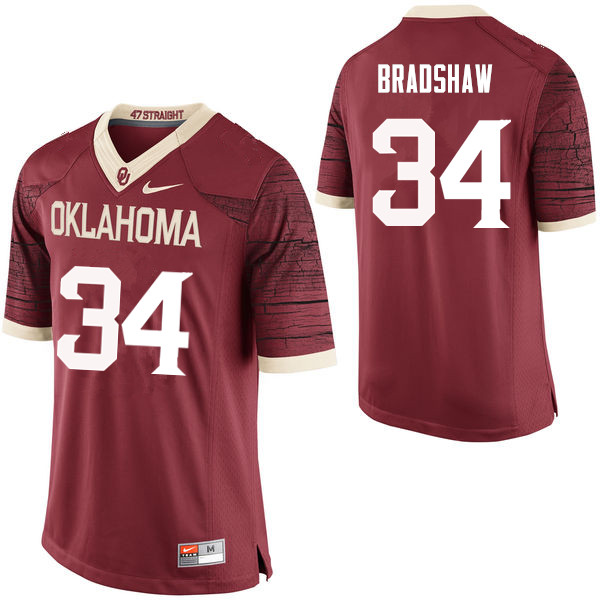 Men Oklahoma Sooners #34 Malik Bradshaw College Football Jerseys Limited-Crimson