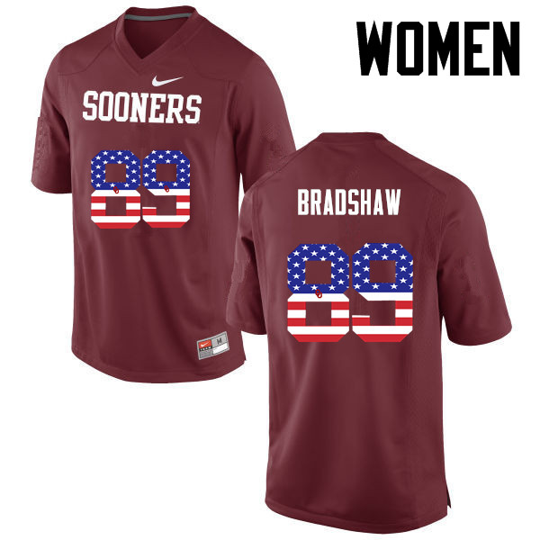 Women Oklahoma Sooners #34 Malik Bradshaw College Football USA Flag Fashion Jerseys-Crimson