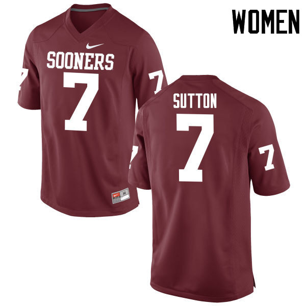 Women Oklahoma Sooners #7 Marcelias Sutton College Football Jerseys Game-Crimson