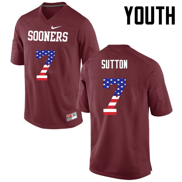 Youth Oklahoma Sooners #7 Marcelias Sutton College Football USA Flag Fashion Jerseys-Crimson