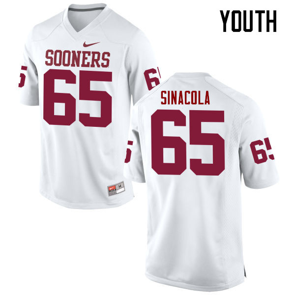 Youth Oklahoma Sooners #65 Mario Sinacola College Football Jerseys Game-White