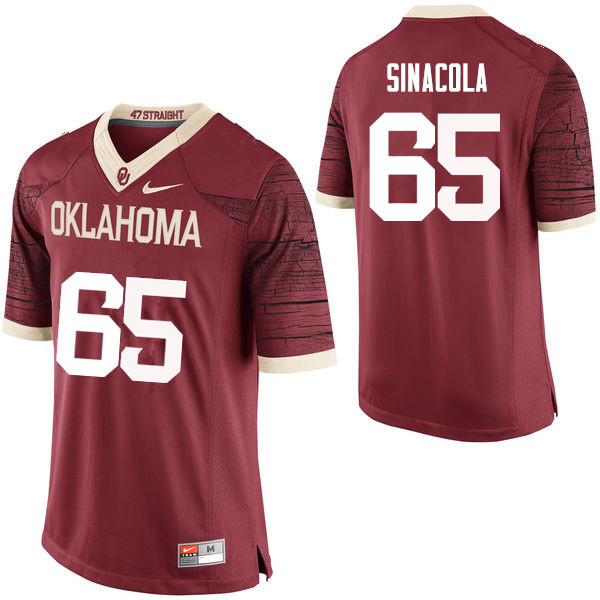 Men Oklahoma Sooners #65 Mario Sinacola College Football Jerseys Limited-Crimson