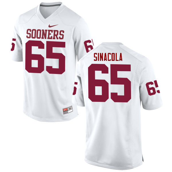 Men Oklahoma Sooners #65 Mario Sinacola College Football Jerseys Game-White