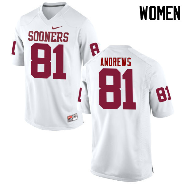 Women Oklahoma Sooners #81 Mark Andrews College Football Jerseys Game-White