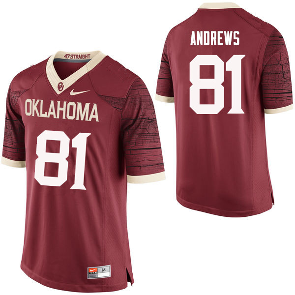Men Oklahoma Sooners #81 Mark Andrews College Football Jerseys Limited-Crimson
